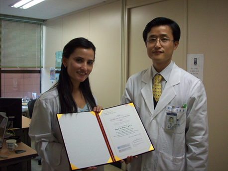 Dr. Lee and Danielle at the Department of Acupuncture at Kuyng Hee Hospital